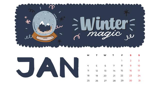 Winter Holidays decor and symbols Calendarデザインテンプレート