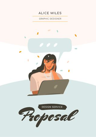 Designer Services offer with Woman by Laptop Proposal Modelo de Design