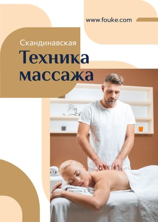 Massage Salon Ad Masseur by Relaxed Woman Flayer – шаблон для дизайна