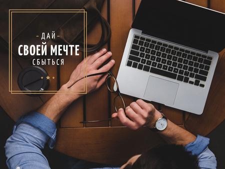 Businessman with Laptop Presentation – шаблон для дизайна