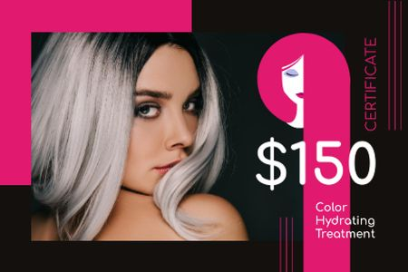 Ontwerpsjabloon van Gift Certificate van Hair Salon Offer Woman with Dyed Hair