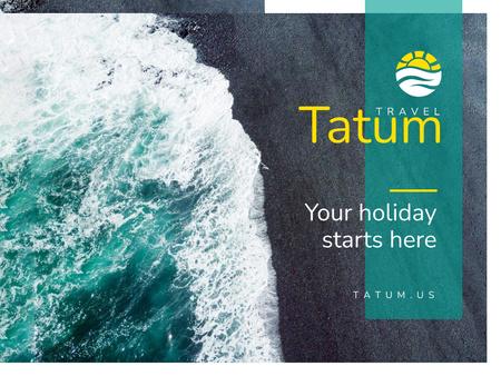 Modèle de visuel Holiday Invitation with Wave and Beach - Presentation