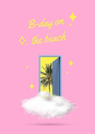 Beach Birthday Party announcement Flayer – шаблон для дизайну