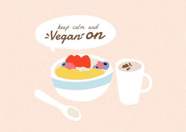 Vegan Lifestyle Concept with Healthy Dish Postcardデザインテンプレート