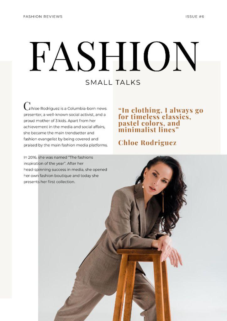 Fashion Talk with Woman in stylish suit — ein Design erstellen