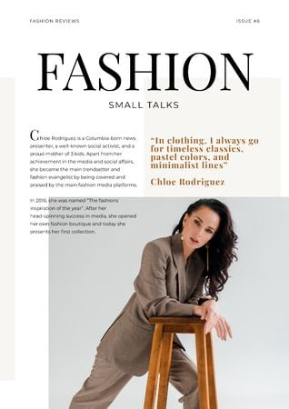 Fashion Talk with Woman in stylish suit Newsletter Modelo de Design