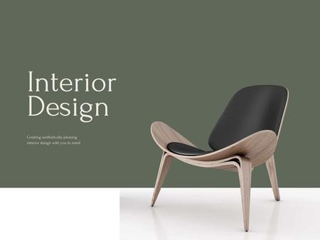 Ontwerpsjabloon van Presentation van Interior Design Offer with Stylish Modern Chair
