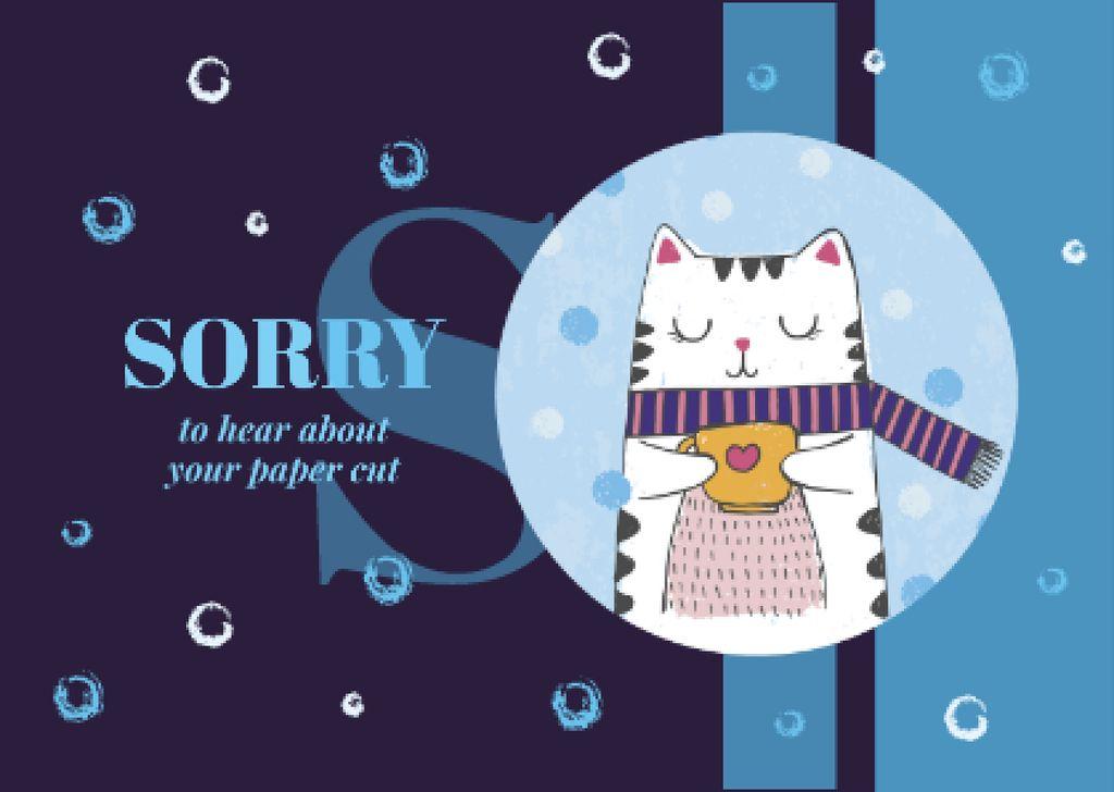 Ontwerpsjabloon van Postcard van Cat holding cup in winter