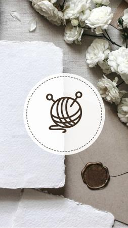 Modèle de visuel Tailor and Handmade equipment icons on flowers - Instagram Highlight Cover