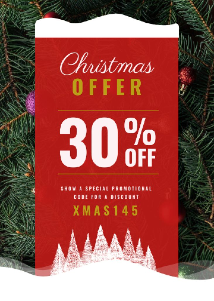 Plantilla de diseño de Christmas Offer Decorated Fir Tree Flayer