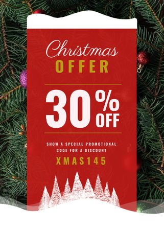 Template di design Christmas Offer Decorated Fir Tree Flayer