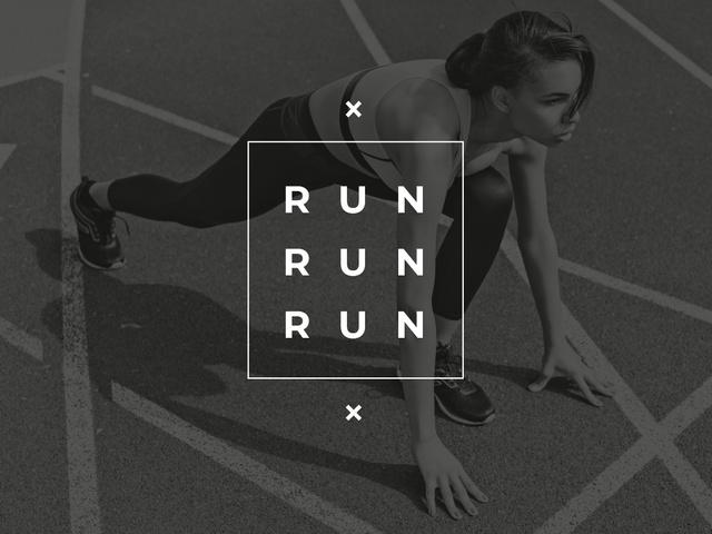 Running Woman in sepia tone Presentation Modelo de Design