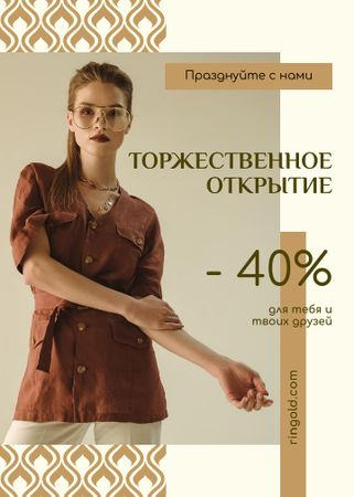 Grand Opening Fashionable Woman in Brown Outfit Flayer – шаблон для дизайна