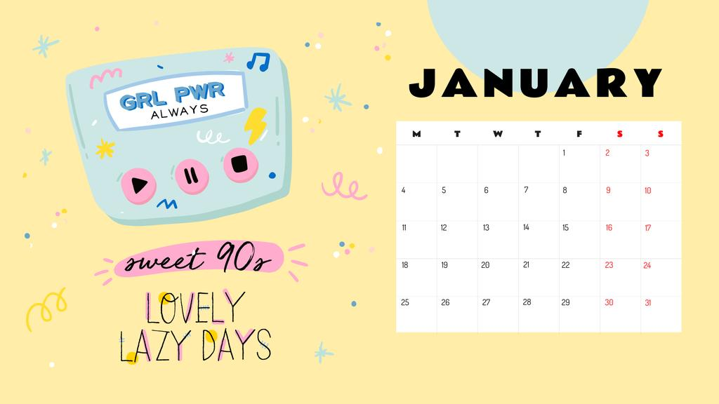 Inspirational and cute Girly illustrations Calendar – шаблон для дизайну