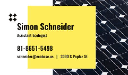 Plantilla de diseño de Ecologist Services Ad with Solar Panel Surface Business card