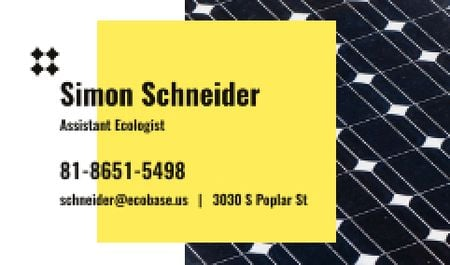 Ecologist Services Ad with Solar Panel Surface Business card Modelo de Design