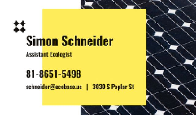 Template di design Ecologist Services Ad with Solar Panel Surface Business card