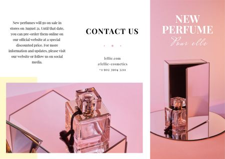 Luxurious Perfume Ad in Pink Brochure Modelo de Design