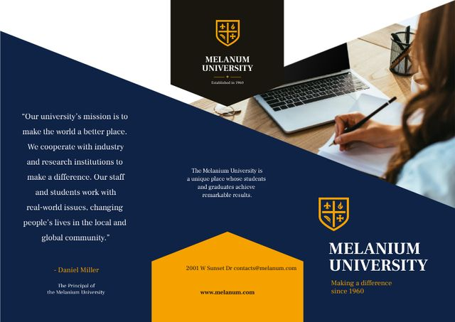 University Ad Brochure with Girl Student making notes by Laptop Brochure Modelo de Design