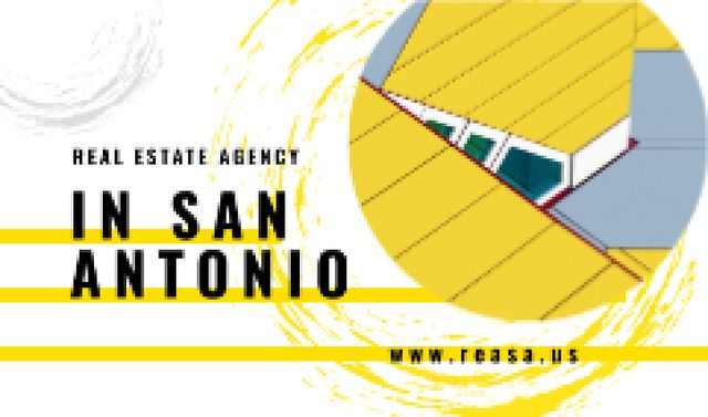 Modern House Roof in Yellow Business card Modelo de Design