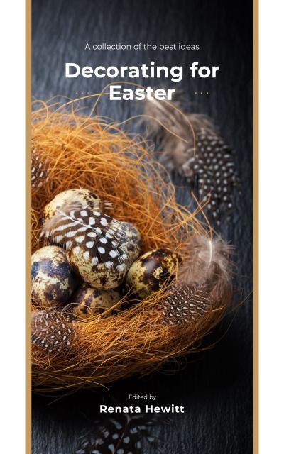 Easter Decor Quail Eggs in Nest Book Cover – шаблон для дизайна