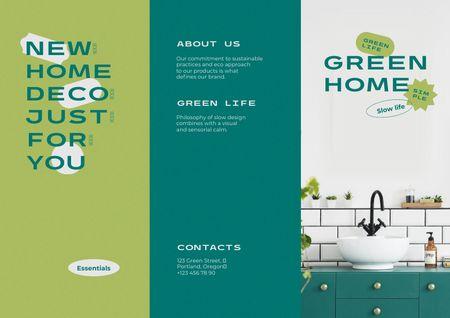 Ontwerpsjabloon van Brochure van Eco Interior Offer with Wash Basin