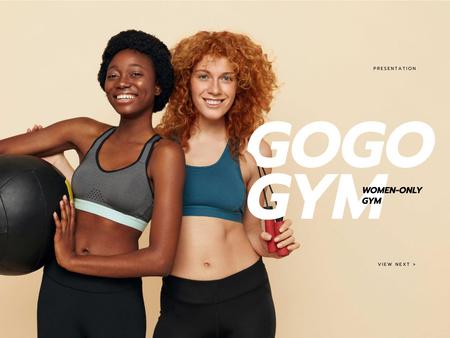 Gym for Women Ad with Smiling Athlete Girls Presentation Modelo de Design
