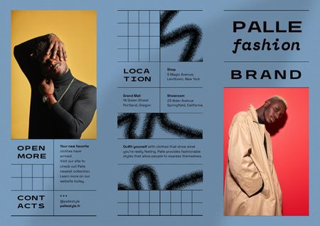 Fashion Ad with Men in Stylish Outfits Brochure Modelo de Design