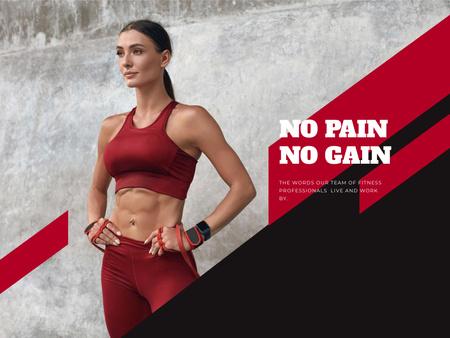 Gym Services Offer with Athlete Woman Presentation Modelo de Design