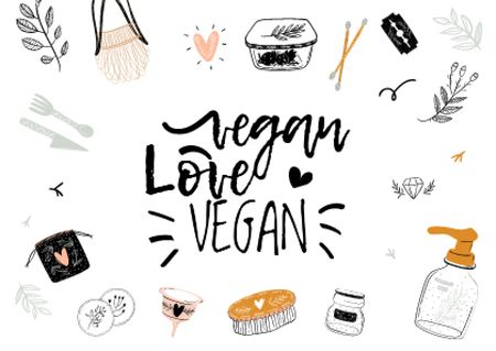 Vegan Lifestyle Concept with Eco Products Postcard Tasarım Şablonu