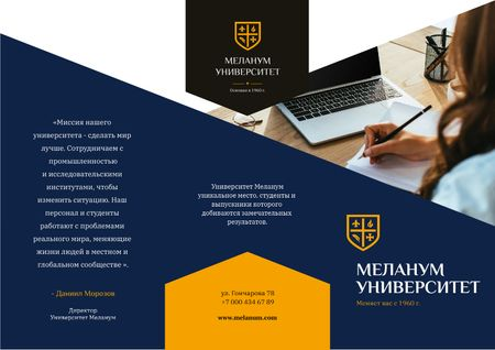 University Ad Brochure with Girl Student making notes by Laptop Brochure – шаблон для дизайна