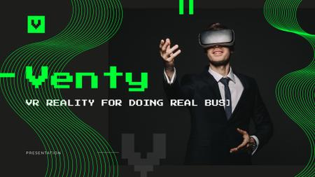 Plantilla de diseño de Virtual Reality Guide with Businessman in VR Glasses Presentation Wide