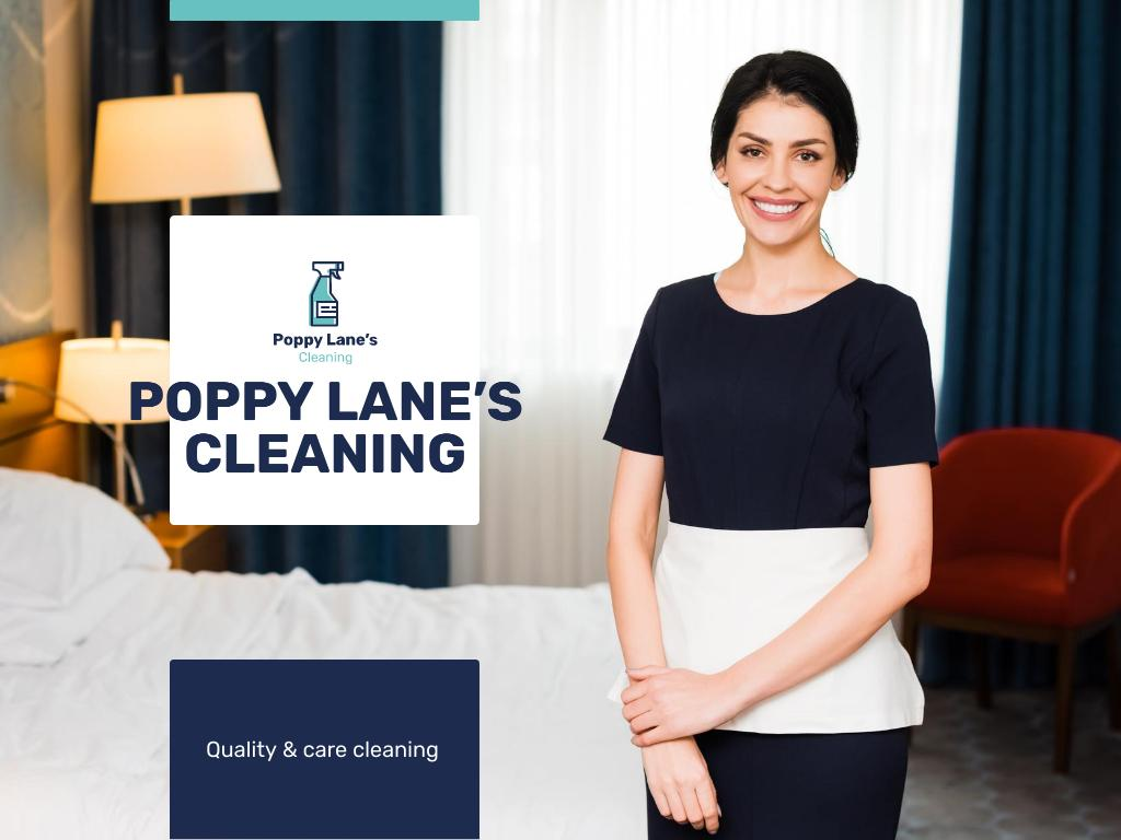 Cleaning Services Offer with Chambermaid in Room Presentation Design Template