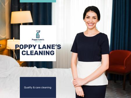 Cleaning Services Offer with Chambermaid in Room Presentation – шаблон для дизайну