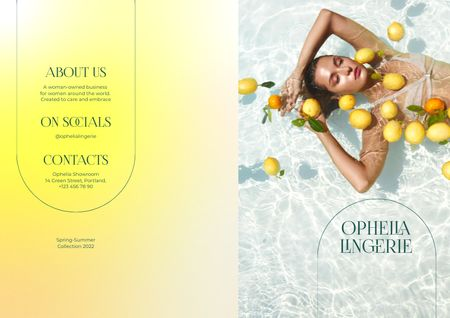 Lingerie Ad with Beautiful Woman in Pool with Lemons Brochure Design Template
