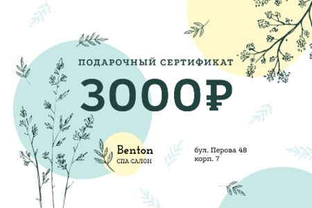 Spa Salon Offer with Plant Sketches Gift Certificate – шаблон для дизайна