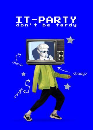 Party announcement with TV-headed man Flayer – шаблон для дизайну