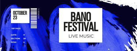 Plantilla de diseño de Live Music Festival with Smeared Paint Ticket