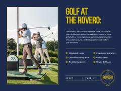 Golf Club Ad with Man in Golf Car