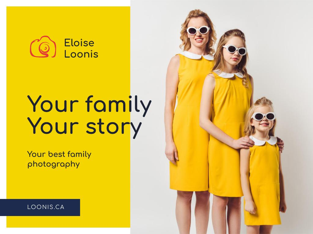 Family Photo Session Offer with Mother and Daughters Presentation Design Template