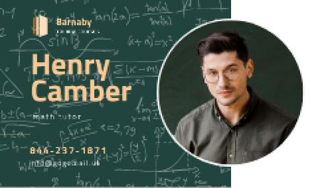 Math Tutor Contacts with Confident Man in Glasses Business card Tasarım Şablonu