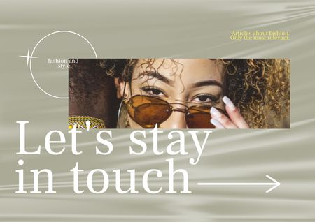 Young Woman in Stylish Sunglasses Brochure – шаблон для дизайна