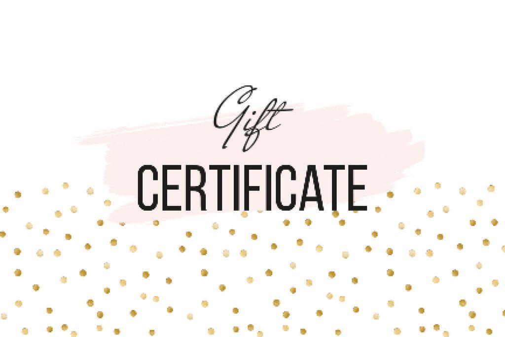 Modèle de visuel Cosmetics Offer on golden glitter - Gift Certificate