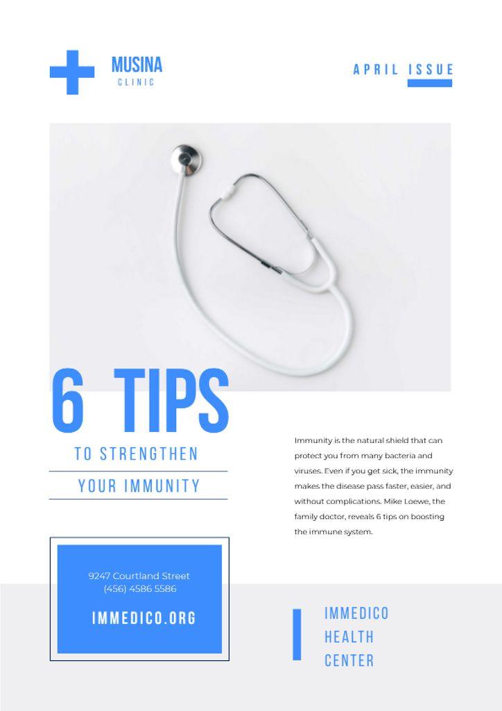 Immunity Strengthening Tips with Stethoscope Newsletter Design Template