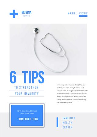 Immunity Strengthening Tips with Stethoscope Newsletter Modelo de Design