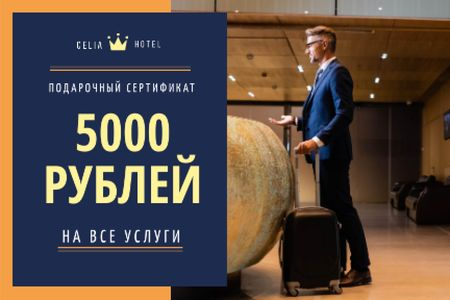 Airport Services Offer with Businessman with Luggage Gift Certificate – шаблон для дизайна