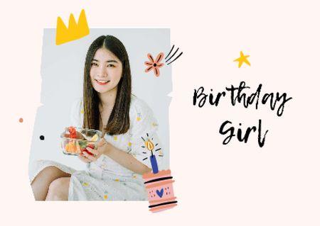 Template di design Smiling Girl celebrating Birthday Postcard
