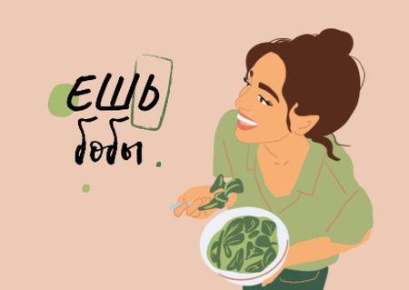 Vegan Lifestyle Concept with Woman eating Healthy Dish Postcard – шаблон для дизайна
