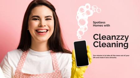 Plantilla de diseño de Smiling Woman for Cleaning services ad Presentation Wide