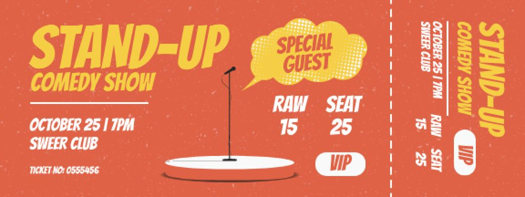 Comedy Show with Microphone on Stage Ticket – шаблон для дизайна
